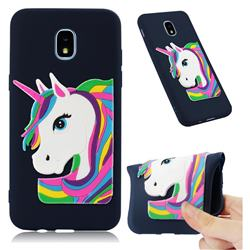 Rainbow Unicorn Soft 3D Silicone Case for Samsung Galaxy J3 (2018) - Navy