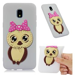 Bowknot Girl Owl Soft 3D Silicone Case for Samsung Galaxy J3 (2018) - Translucent White