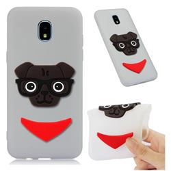 Glasses Dog Soft 3D Silicone Case for Samsung Galaxy J3 (2018) - Translucent White