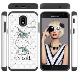 Tiny Unicorn Studded Rhinestone Bling Diamond Shock Absorbing Hybrid Defender Rugged Phone Case Cover for Samsung Galaxy J3 (2018)