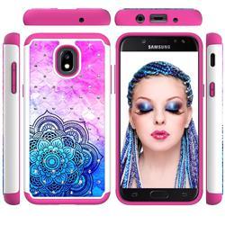 Colored Mandala Studded Rhinestone Bling Diamond Shock Absorbing Hybrid Defender Rugged Phone Case Cover for Samsung Galaxy J3 (2018)