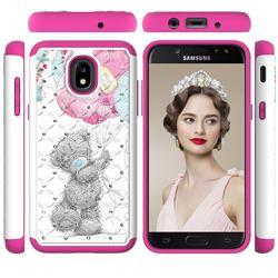 Gray Bear Studded Rhinestone Bling Diamond Shock Absorbing Hybrid Defender Rugged Phone Case Cover for Samsung Galaxy J3 (2018)