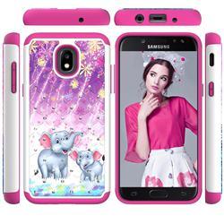 Fireworks Jumbo Studded Rhinestone Bling Diamond Shock Absorbing Hybrid Defender Rugged Phone Case Cover for Samsung Galaxy J3 (2018)
