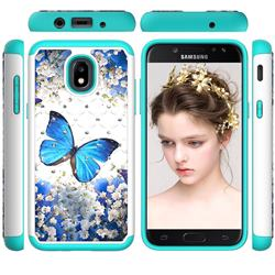Flower Butterfly Studded Rhinestone Bling Diamond Shock Absorbing Hybrid Defender Rugged Phone Case Cover for Samsung Galaxy J3 (2018)