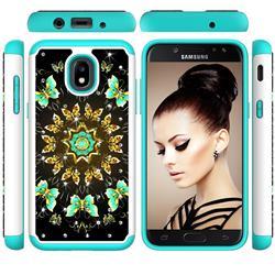 Golden Butterflies Studded Rhinestone Bling Diamond Shock Absorbing Hybrid Defender Rugged Phone Case Cover for Samsung Galaxy J3 (2018)