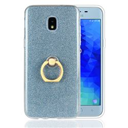 Luxury Soft TPU Glitter Back Ring Cover with 360 Rotate Finger Holder Buckle for Samsung Galaxy J3 (2018) - Blue
