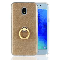 Luxury Soft TPU Glitter Back Ring Cover with 360 Rotate Finger Holder Buckle for Samsung Galaxy J3 (2018) - Golden