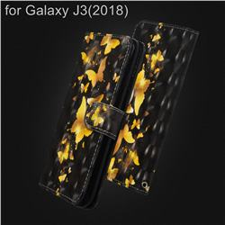 Golden Butterfly 3D Painted Leather Wallet Case for Samsung Galaxy J3 (2018)