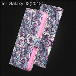 Swirl Flower 3D Painted Leather Wallet Case for Samsung Galaxy J3 (2018)