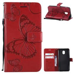 Embossing 3D Butterfly Leather Wallet Case for Samsung Galaxy J3 (2018) - Red