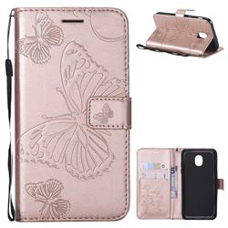 Embossing 3D Butterfly Leather Wallet Case for Samsung Galaxy J3 (2018) - Rose Gold