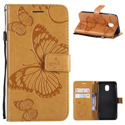 Embossing 3D Butterfly Leather Wallet Case for Samsung Galaxy J3 (2018) - Yellow