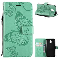 Embossing 3D Butterfly Leather Wallet Case for Samsung Galaxy J3 (2018) - Green
