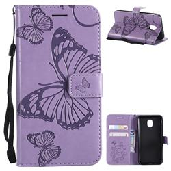 Embossing 3D Butterfly Leather Wallet Case for Samsung Galaxy J3 (2018) - Purple