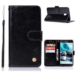 Luxury Retro Leather Wallet Case for Samsung Galaxy J3 (2018) - Black
