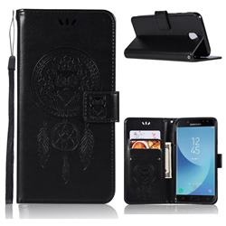 Intricate Embossing Owl Campanula Leather Wallet Case for Samsung Galaxy J3 (2018) - Black