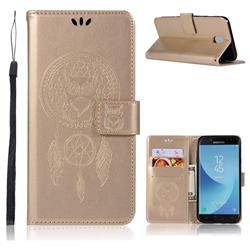 Intricate Embossing Owl Campanula Leather Wallet Case for Samsung Galaxy J3 (2018) - Champagne