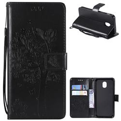 Embossing Butterfly Tree Leather Wallet Case for Samsung Galaxy J3 (2018) - Black