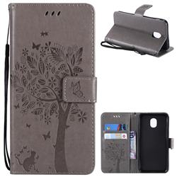 Embossing Butterfly Tree Leather Wallet Case for Samsung Galaxy J3 (2018) - Grey