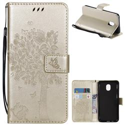 Embossing Butterfly Tree Leather Wallet Case for Samsung Galaxy J3 (2018) - Champagne