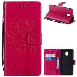 Embossing Butterfly Tree Leather Wallet Case for Samsung Galaxy J3 (2018) - Rose