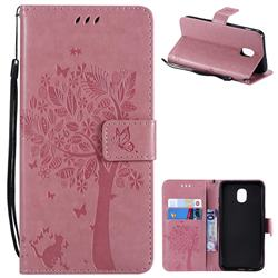 Embossing Butterfly Tree Leather Wallet Case for Samsung Galaxy J3 (2018) - Pink