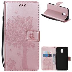 Embossing Butterfly Tree Leather Wallet Case for Samsung Galaxy J3 (2018) - Rose Pink