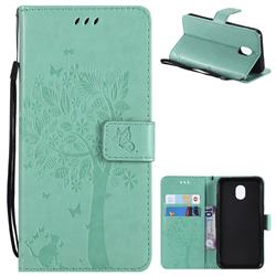 Embossing Butterfly Tree Leather Wallet Case for Samsung Galaxy J3 (2018) - Cyan