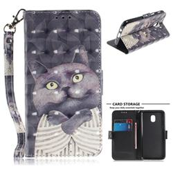 Cat Embrace 3D Painted Leather Wallet Phone Case for Samsung Galaxy J3 (2018)