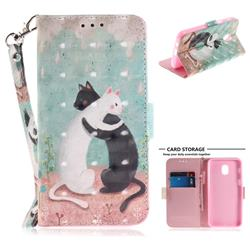 Black and White Cat 3D Painted Leather Wallet Phone Case for Samsung Galaxy J3 (2018)