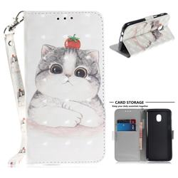 Cute Tomato Cat 3D Painted Leather Wallet Phone Case for Samsung Galaxy J3 (2018)
