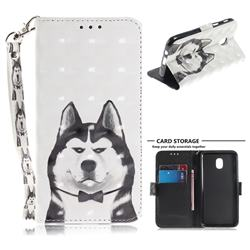Husky Dog 3D Painted Leather Wallet Phone Case for Samsung Galaxy J3 (2018)