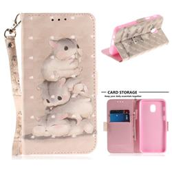 Three Squirrels 3D Painted Leather Wallet Phone Case for Samsung Galaxy J3 (2018)