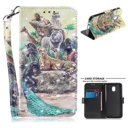 Beast Zoo 3D Painted Leather Wallet Phone Case for Samsung Galaxy J3 (2018)