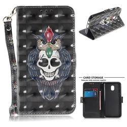 Skull Cat 3D Painted Leather Wallet Phone Case for Samsung Galaxy J3 (2018)