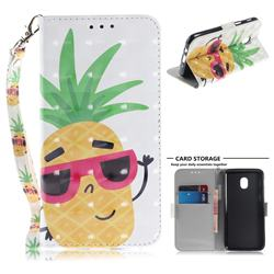 Pineapple Glasses 3D Painted Leather Wallet Phone Case for Samsung Galaxy J3 (2018)