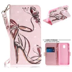 Butterfly High Heels 3D Painted Leather Wallet Phone Case for Samsung Galaxy J3 (2018)