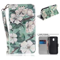 Watercolor Flower 3D Painted Leather Wallet Phone Case for Samsung Galaxy J3 (2018)