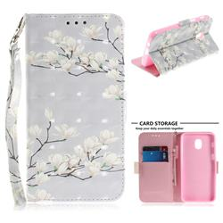 Magnolia Flower 3D Painted Leather Wallet Phone Case for Samsung Galaxy J3 (2018)