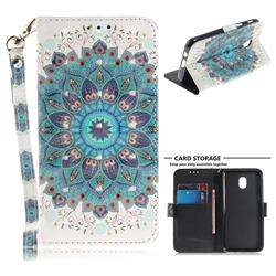 Peacock Mandala 3D Painted Leather Wallet Phone Case for Samsung Galaxy J3 (2018)