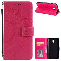Intricate Embossing Datura Leather Wallet Case for Samsung Galaxy J3 (2018) - Rose Red