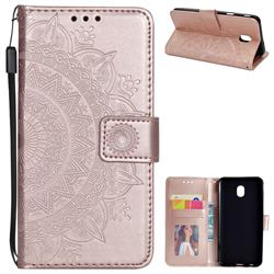 Intricate Embossing Datura Leather Wallet Case for Samsung Galaxy J3 (2018) - Rose Gold