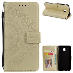 Intricate Embossing Datura Leather Wallet Case for Samsung Galaxy J3 (2018) - Golden
