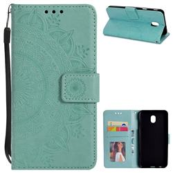 Intricate Embossing Datura Leather Wallet Case for Samsung Galaxy J3 (2018) - Mint Green
