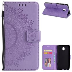 Intricate Embossing Datura Leather Wallet Case for Samsung Galaxy J3 (2018) - Purple