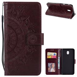 Intricate Embossing Datura Leather Wallet Case for Samsung Galaxy J3 (2018) - Brown
