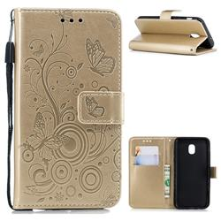 Intricate Embossing Butterfly Circle Leather Wallet Case for Samsung Galaxy J3 (2018) - Champagne
