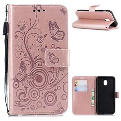Intricate Embossing Butterfly Circle Leather Wallet Case for Samsung Galaxy J3 (2018) - Rose Gold