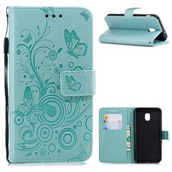 Intricate Embossing Butterfly Circle Leather Wallet Case for Samsung Galaxy J3 (2018) - Cyan
