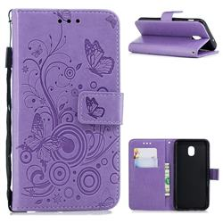 Intricate Embossing Butterfly Circle Leather Wallet Case for Samsung Galaxy J3 (2018) - Purple